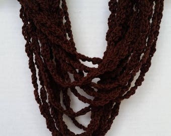 ON SALE Infinity Scarf -Scarves for Women, Chain Scarf, Crochet Scarf, Chocolate Brown Scarf, Gifts For Her, Handmade Scarf