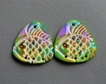 Fish Beads Triangle Polymer Clay Beads,Artisan Beads Triangle Beads,Lightweight Beads,Polymer Clay Beads