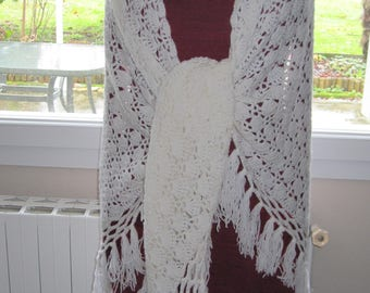 White, wool, crocheted fringed shawl