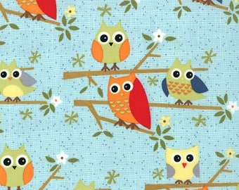 Jenn Ski Ten Little Things Owl Fabric in Light Blue