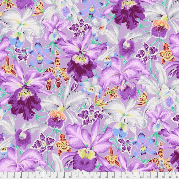 Pre-Order ORCHIDS Cool Purple Phillip Jacobs  PWPJ092.COOLX Kaffe Fassett Sold in 1/2 yd increments Pre-Order Item