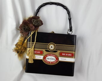 """Vintage Upcycled Decoupaged Wooden Cigar Box Purse Floral Rose Embellishment Tassels Black/White/Gold 8.5"""" x 7.3"""" x 3.25"""""""