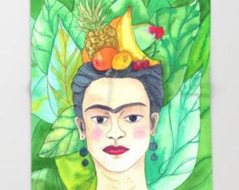 "Frida Kahlo Throw Blanket  -  ""Frida""  blanket throw  - green, yellow, portrait artist, tropical foliage beautiful  cozy gift"
