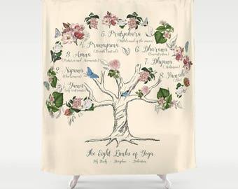The Eight Limbs of Yoga Shower Curtain - Yoga disciplines, vintage florals, Yama, Niyama, educational,  beautiful