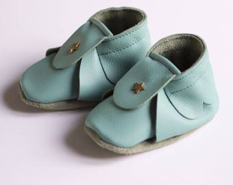 Leather baby shoes turquoise 6-12 months, mixed baby booties, baby leather shoes