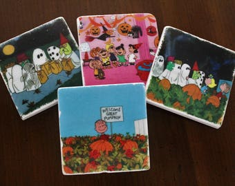Stone Coasters - It's the Great Pumpkin, Charlie Brown // Tumbled Marble Tile Coasters // Set of 4 // Holiday Coasters // Holiday Decor