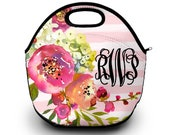 Monogram Lunch Bag | Floral Print | Lunch Bag | Gift For Her |  Lunch Bag for Women
