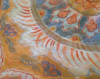 Beautiful Vera Square Silk Scarf Gray Orange Boho 60s Vintage