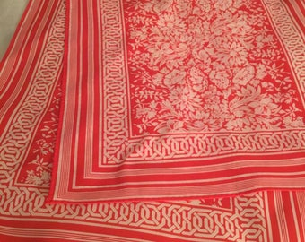 On Sale. Vintage Long Scarf Robinson Golluber 60s Gorgeous Red White Floral