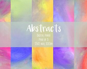 Abstract Digital Paper - digital scrapbook paper, rainbow paper