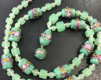 Uranium glass and wedding cake beads ,green