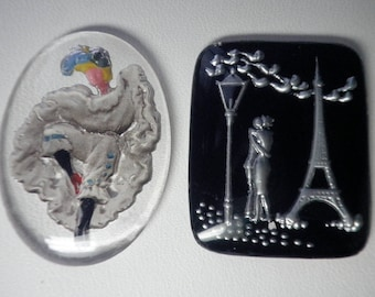 Vintage Paris Can Can and Lovers Glass Cabochon Duo