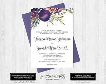 Fig and Rosemary Floral Wedding Invitation Ceremony Announcement Purple and Green Flower Arrangement Digital File or Prints Fruit
