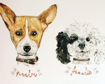Custom Pet Portrait For Two Dogs - Watercolors Illustration
