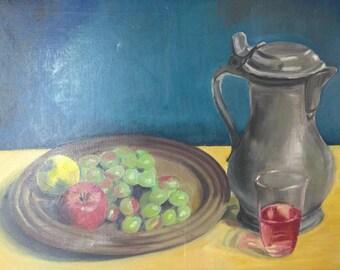Vintage Artist Signed Impressionist Still Life Fruit Pewter Stein Oil Painting
