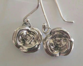 Fine Silver Rose Earrings, PMC3 Fine Silver Clay Earrings