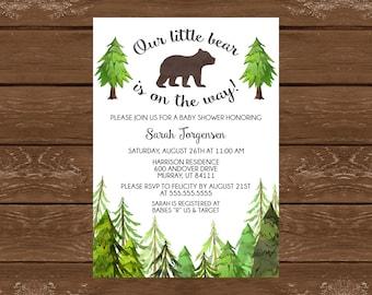 Little Bear Baby Shower Invitation, Printable Baby Shower Invite, Forest Baby Shower. Little Bear, Custom Invitation, 022