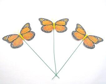 12 Pcs Monarch Butterfly on Wires Tie,Halloween decor,Decoration,Orange,Wedding Crafts,Floral Flower Arrangement,Centerpiece,