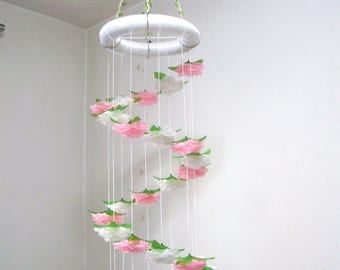 Flower Mobile,Baby Mobile,Girl,Boy,Hanging,Nursery Crib Mobile,Baby Shower decor,Wedding Chandelier,Birthday Gift,Spiral Art,Pink,Silk Rose