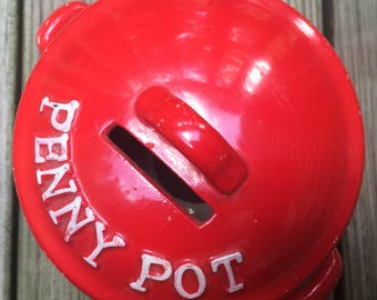 SALE Bank Penny Pot Red Kettle by Lego Kitschy Mid Century