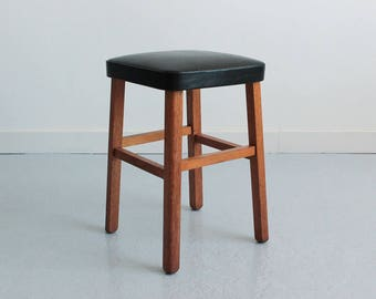 Vintage Small 1960s Wooden Kitchen Stool Covered in Black Vinyl Fabric