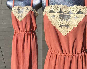 Vintage Large Lace trim Blush Semi Sheer Poly-Georgette Short Dress Spaghetti Strap with cover up Pink Salmon Peach