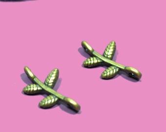 10 small connectors branch 15mm bronze color