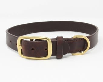 Quality leather dog collar with brass buckle and D ring