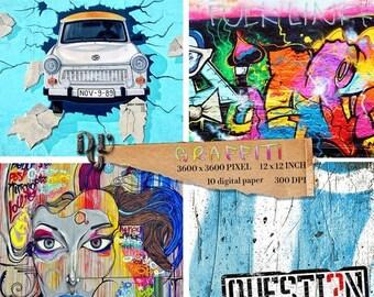 40% GRAFFITI Art Digital Paper Pack. Wall Art Paper Street Art Digital Scrapbook, Graffiti Digital Backdrop Street Art Digital backgrounds #