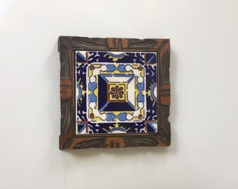 Vintage Mexican Tile in Carved Wood Frame