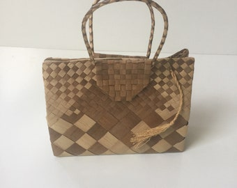 Vintage Woven Palm Leaf Handbag 1950s 1960s