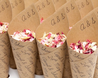 Wedding confetti cones, Classic Personalised pack of 5