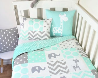 Patchwork nursery items - Scattered mint and grey giraffes and elephants