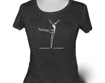 "Dance T-Shirt. Charcoal Black. Triblend Dance Shirt For Women. Titled ""Piqué to Arabesque"". For trained dancers."