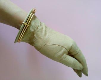 Vintage Trussardi leather gloves driving gloves lambskin beige 6 1/2 golden bangles