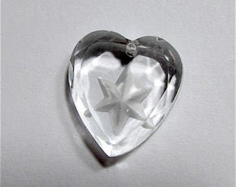 Vintage Cut Crystal Heart Shaped Glass Pendant with Incised Star