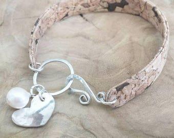 Classy Cork sterling silver fresh water pearl bracelet