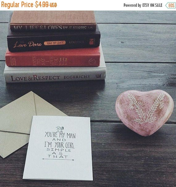 ON SALE Cute and sweet valentine's day card, anniversary card, you're my man and I'm your girl, the cutest I love you card