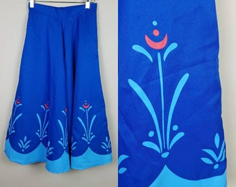 1950s vintage skirt blue with abstract floral detail full fit and flare