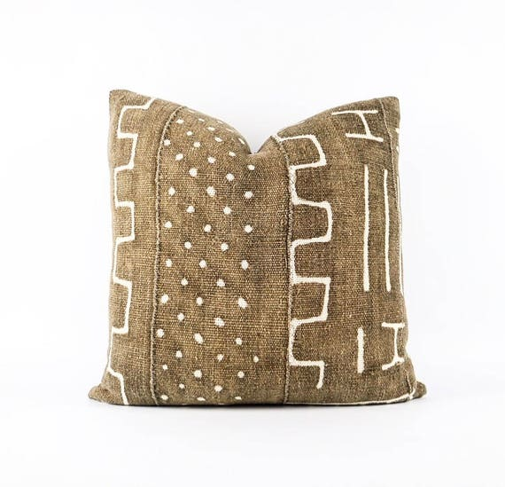 Authentic Brown African Mudcloth Textile Pillow Cover 18x18