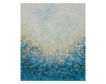 Huge Original Abstract Painting on Canvas by Lisa Carney BLUE WOOD MIST Large Wall Art, Floral Abstract, Landscape, Impressionist, Blue