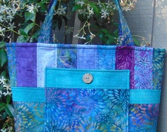 Summer Breeze!  Turquoise Batik Quilted Tote