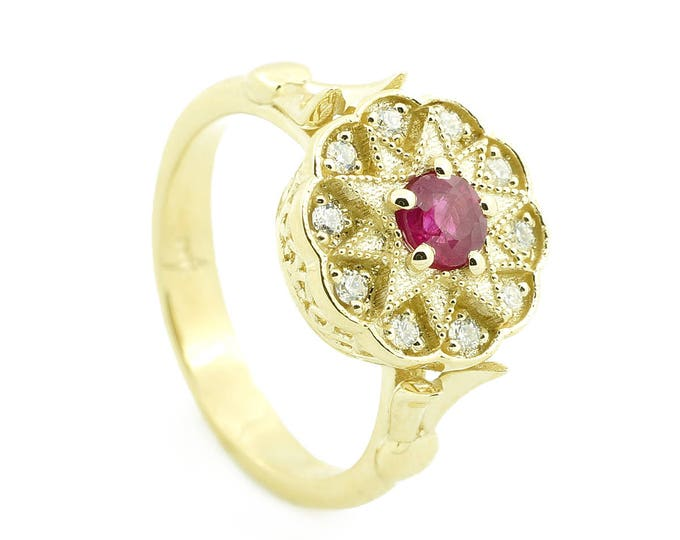 Engagement ring-Gold Diamond Ring-Ruby diamond ring-Anniversery ring-Promise ring- Multistone ring-Stackable ring-Signet ring- For her