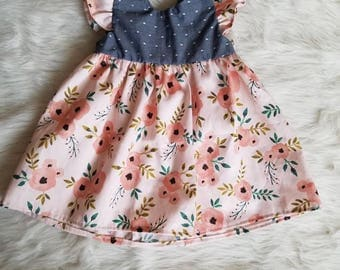 Blush pink floral dress, floral baby dress, flutter sleeve dress, toddler dress, pink floral toddler dress, floral baby dress