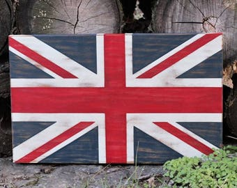 "READY to SHIP - Union Jack - Great Britain Flag, Hand Painted on Wood - 18"" x 12"" Wall Hanging"