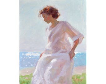 Summer Breeze  - original oil figurative painting