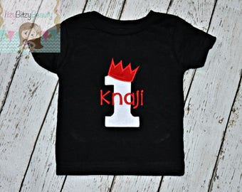 Boys Birthday Shirt - King Crown Number - Embroidered , ANY COLOR , Personalized Bodysuit Or Shirt - Baby Boys First Birthday Shirt
