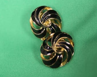 Black and Gold Swirl Retro Clip On Earrings