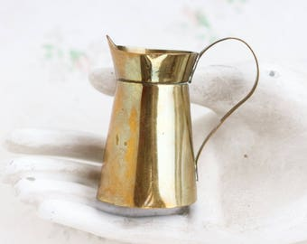 Miniature Brass Pitcher - Tiny Water Jug - rustic Dollhouse Decor