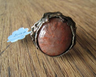 Sterling Silver Large Heavy Handmade Dark Orange Agate Ring 7.5-7.75 (1197)